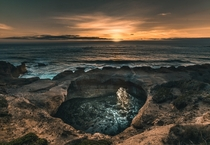 Incredible sunset at Oregons Coast Devils Punchbowl
