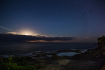 Incredibly bright starry night at Dee Why Beach Sydney