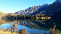 Incredibly calm and peaceful day at Moke Lake just outside of Queenstown New Zealand