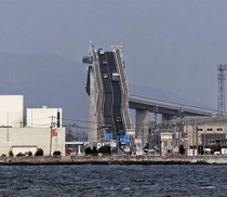 Incredibly steep bridge Eshima Ohashi bridge Japan