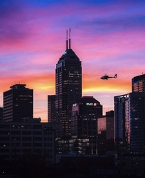 Indianapolis Indiana My hometown I love our skyline but Id really like to see at least two more ft towers to complete the skyline