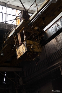 industrial crane in a abandoned factory in Philadelphia  feet in the air i found