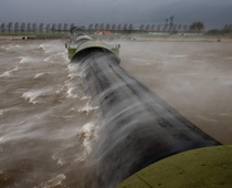 Inflatable storm surge barrier Ramspol the Netherlands  - photo credit Freddy Schinkel
