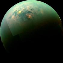 Infrared color mosaic from NASAs Cassini spacecraft shows the sun glinting off of Titans north polar seas While Cassini has captured separately views of the polar seas and the sun glinting off of them in the past this is the first time both have been seen