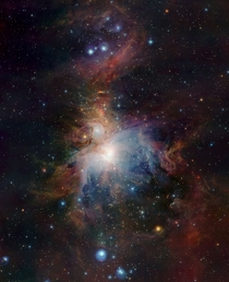 Infrared view of the Orion Nebula  light-years away  taken at ESOs Paranal Observatory in Chile