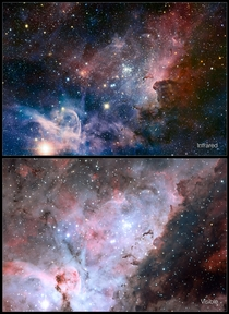 Infraredvisible-light comparison of the Carina Nebula