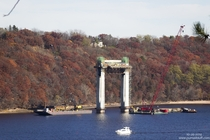 Infrastructure-in-progress St Croix Crossing bridge near Stillwater Minnesota