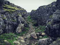 ingvellir Park in Iceland where a divergent boundary creates rifts in the crust