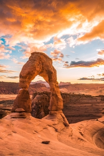 Insane fire sunset above Delicate Arch Utah USA  by hansiphoto
