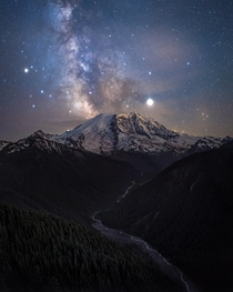 Insane Milky Way Behind Mount Rainier WA USA