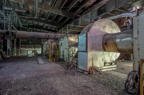 Inside a large abandoned industrial factory in Ontario Canada OC -