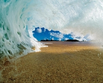 Inside a wave right before it crashes - Clark Little