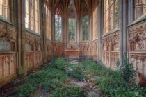 Inside an abandoned and overgrown church  Photographed by Johnny Wasted
