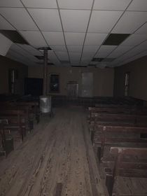 Inside an abandoned church in a cemetery out in the middle of nowhere