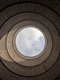 Inside an abandoned cooling tower of a powerplant in Belgium
