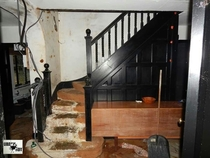 Inside an abandoned mock Tudor house where it became abandoned due to its owner sadly passing away he was found a few months later at the bottom of the stairs just makes you think you should always keep regular checks on those you love dearly
