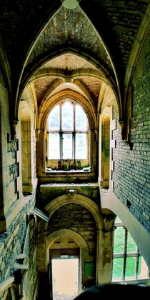 Inside an abandoned Victorian gothic style mansion deep in the English countryside