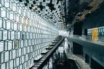 Inside Harpa a concert hall and conference centre in Reykjavk  Photo by Wilson Lee
