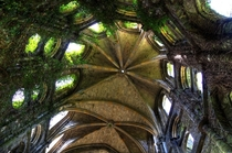 Inside looking up at the ruins of Villers Abbey church Founded in  abandoned in  Belgium