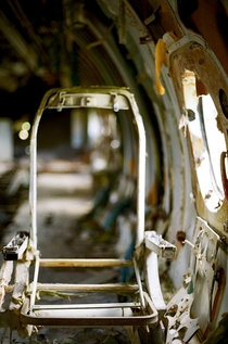 Inside the abandoned Cubana Airliner Pearls Airport Grenada West Indies mm film