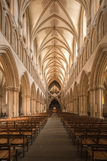 Inside the beautiful historic Wells Cathedral England