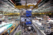 Inside the Boeing Everett factory the worlds largest building by volume