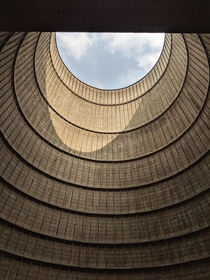 Inside the cooling tower of an abandoned powerplant