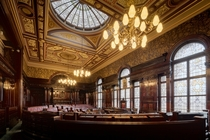 Inside the council chambers in Glasgow City Chambers Glasgow Scotland