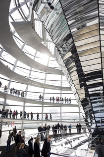 Inside the dome of the Reichstag Berlin Germany