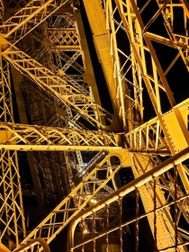 Inside the Eiffel Tower at night Gustave Eiffel