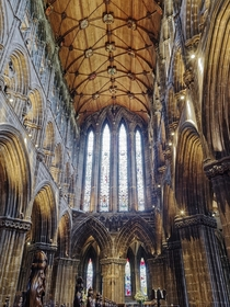 Inside the gothic style Glasgow Cathedral Scotland