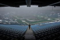Inside the Silverdome on one of Michigans foggiest days