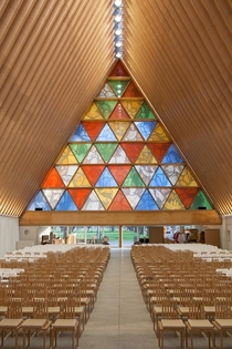 Inside the Transitional cardboard Cathedral Christchurch in New Zealand