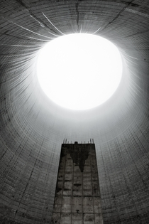 Inside the unfinished cooling tower at Satsop Nuclear plant in Washington state by Ed Roppo