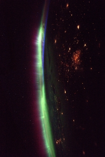 Intense auroras seen from the ISS by ESA astronaut Thomas Pesquet