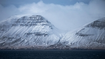 Intense far-off mountains in the remote northern fjords of Iceland