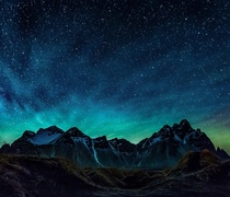 Intense green Airglow over the mountains of Vestrahorn Iceland