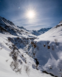 Intensely sunny day in the alps France