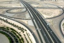 Interchange between Al Ain motorway and Emirates Rd in Dubai UAE