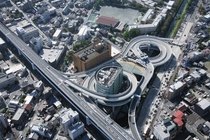 Interchange looping around a building in Nagoya Japan