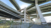 Interchange supported by a central steel frame in Osaka Japan