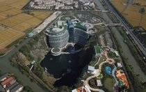 InterContinental Shanghai Wonderland hotel opened within a -metre-deep abandoned quarry near Shanghai