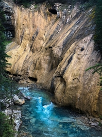 Interesting rock formations at Johnston Canyon Bow Valley Parkway Canada