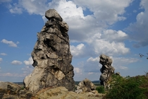 Interesting rock formations at Teufelsmauer Weddersleben Germany
