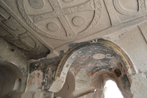 Interior of a Byzantine cave church found wandering the valleys of Cappadocia