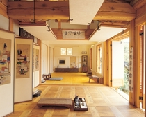 Interior of a refurbished s traditional housing in Bukchon Hanok Village Jongno District Seoul South Korea