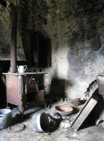 Interior of a typical abandoned peasants house in rural Liguria Italy