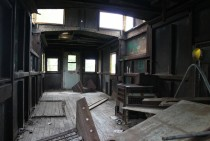 Interior of an abandoned caboose northern MN
