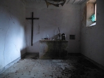 Interior of an abandoned th century church in Cessapalombo Italy The church was abandoned ca