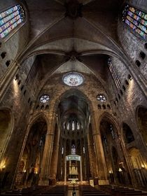 Interior of Girona Cathedral NE Spain  It has the widest gothic nave in the world m and the second widest after that of St Peters Basilica in the Vatican